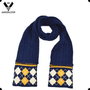 Winter Diamond Jacquard Cable Knit Kid Scarf pictures & photos