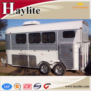 China Gooseneck Single 2 Horse Box Trailer with Windows Dividers Rubber Mats Living Quarters pictures & photos
