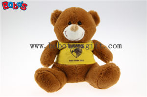 "7"" Dark Brown Custom Made Baby Kids Toy Teddy Bear with Yellow T-Shirt pictures & photos"