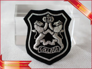 Customized Lace Badge Embroidery Bullion Golden Badge pictures & photos