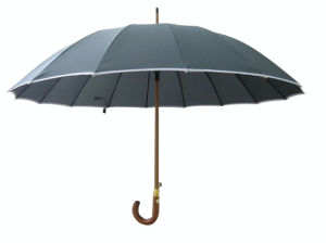 Auto Open Wood Shaft Straight Umbrella Men Umbrella (SU026) pictures & photos