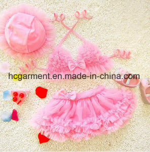 Girl′s Lace Pleated Skirt Swimming Suit, Lace Lovely Swimming Wear S pictures & photos