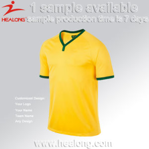 100% Polyester Customized Any Logo Football Jersey Soccer Shirt Set pictures & photos