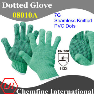 7g Green Polyester/Cotton Knitted Glove with Black PVC Dots/ En388: 112X pictures & photos