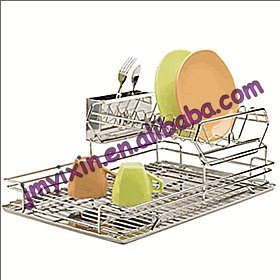 Chrome 2 Tier Dish Drying Rack Kitchen Storage Tools (K1019)