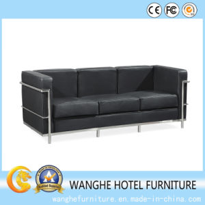 Living Room Furniture Hotel Reception Leather Sofa with Metal Frame pictures & photos