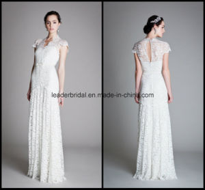 Lace Bridal Dress Prom Gown A-Line V-Neck White Wedding Dresses Z2039 pictures & photos