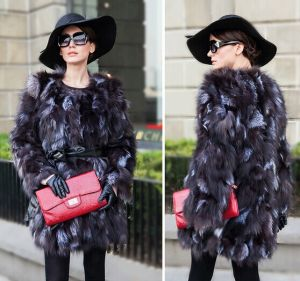 New Woman Winter Warm Natural Silver Fox Fur Coat Ladies Real Fur Overcoat Women′s Fashion Long Sleeve Genuine Fur Clothes pictures & photos
