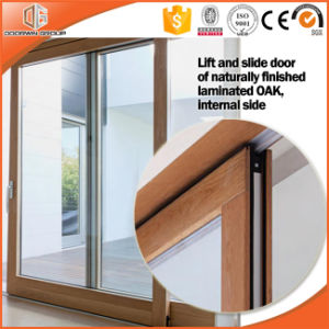 High Praised Aluminum Clading Solid Wood Lift Sliding Door, Double Glass Sliding Door Irregular Divided Light Grille pictures & photos