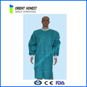 Disposable Non Woven SMS Lab Coats with Knitted Collar and Cuffs