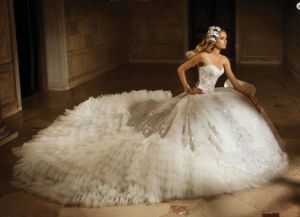 Sweetheart Bridal Ball Gown Puffy Vestidos Lace Tulle Wedding Dress L15341 pictures & photos