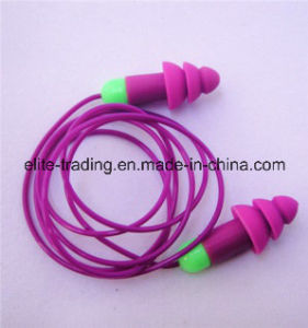 Corded Silicon Ear Plugs with Green PP Base
