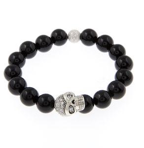 Xg-Be69 Fashion Jewelry Sterling Sliver White Crystal Pave Skull Gemstone Bracelet (XG-BE69)