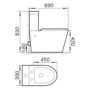 Australian Standard 3/4.5L Bathroom Wc Two Piece Ceramic Toilet pictures & photos