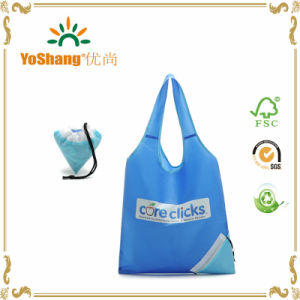 Polyester Reusable Grocery Shopping Bag Ripstop Nylon Tote Integrated Foldable Pouch pictures & photos
