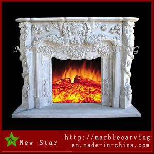 Indoor Round Marble Fireplace Gas Fired, Decorative Marble Fireplace Surround pictures & photos