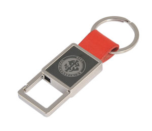 Function Promotional Metal Leather Keychain with Laser Engrave Logo (F3043A)