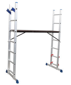 Aluminium En131 Tool Stool Scaffold Work Platform Multipurpose Household with Tray Steel Step Extension Telescopic Folding Ladder 7