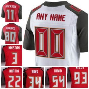 Wholesael Tampa Bay Football Jersey Red White Name and Number Are Sewn on Letters Elite Size S-4XL