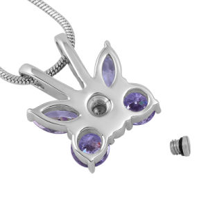 Stainless Steel Purple Butterfly Cremation Urn Memorial Necklace for Ashes pictures & photos