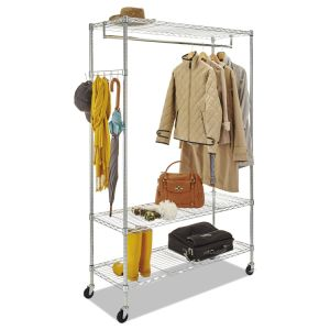 Cheap Price 3 Tiers Adjustable Chrome Metal Garment Hanger Closet Wire Shelving Rack with Wheels pictures & photos