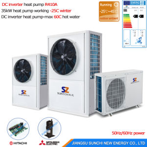 Minus 25c Cold Area Heating Room by 55c Hot Water 10kw/15kw/20kw/25kw Brine Water to Water Ground Source Heat Pump Dhw pictures & photos