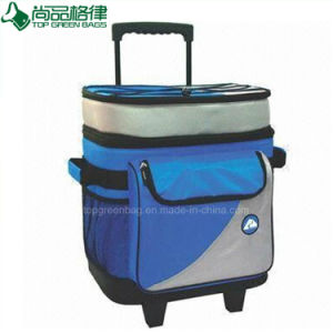 Custom Portable Insulated Picnic Trolley Rolling Wine Cooler Bag with Wheels pictures & photos