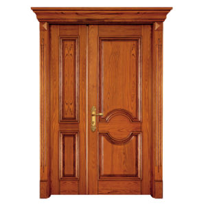 Solid Wood Main Entrance Door Double Door with Standard Hardware pictures & photos