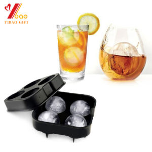 Whiskey Cocktail Ice Cube Tray Silicone Ice Ball Maker Large Ice Cube Molds Maker 4 Large Mold Kitchen Accessories pictures & photos