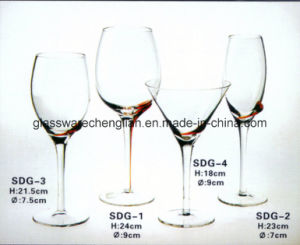 Wine Glass with Solid Color Swirl on Glass Body (SDG-3) pictures & photos