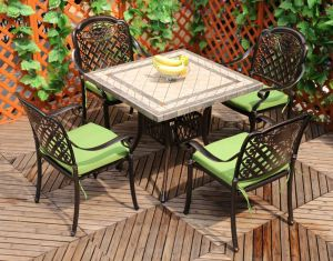 2017 Best Selling Square Stone Table and Cast Aluminum Chairs Restaurant Patio Furniture pictures & photos