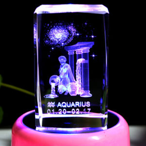 Aquarius Laser Etched Crystal Cube