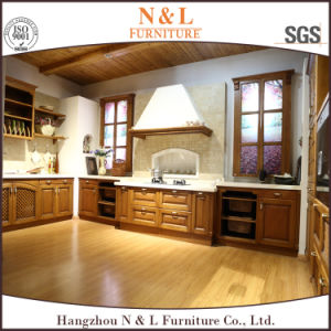 Cherry Solid Wood Design Kitchen Cabinets with ISO9001 pictures & photos