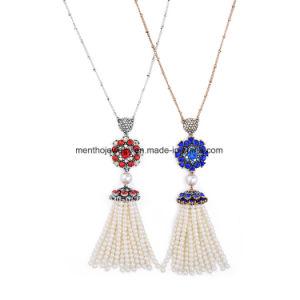 Retro Alloy Diamond Studded Long Chain Necklace Flower Shape Pearl Tassel Pendant pictures & photos