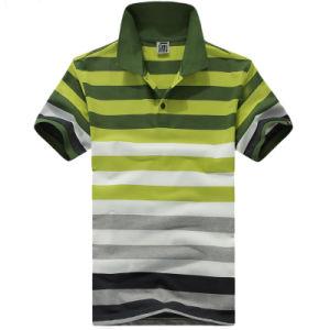 Wholesale 100% Cotton Stripe Pique Men′s Polo Shirts pictures & photos