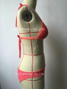 Sexy Ladies Hand-Made Crochet Two-Piece Bikini Swimwear (QG-6185-1M) pictures & photos
