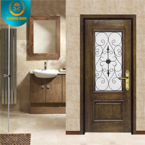 Wooden Look with Glass Security Metal Door for Indonesia pictures & photos