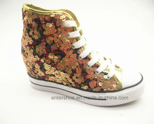 Nice Sequins PU Women Casual Hidden Heel Shoes (ET-LD160342W) pictures & photos