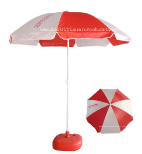 2m promotional Beach Parasol with Color White/Red pictures & photos