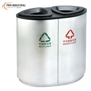 Oval Classification Powder Coated Steel Outdoor Dustbins pictures & photos