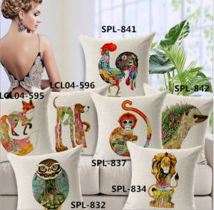 New-Style Animal Cushion Faux Linen Transfer Print Pillow (SPL-832) pictures & photos