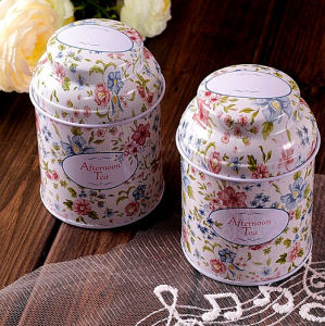 Afternoon Tea Tin Box with Flower Printing
