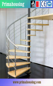Indoor Stainless Steel Handrail Wood Spiral Staircase pictures & photos