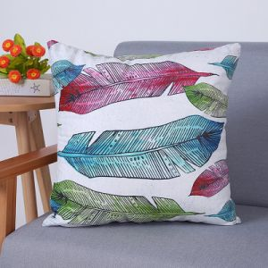 Digital Print Decorative Cushion/Pillow with Watercolor Feather Pattern (MX-89) pictures & photos