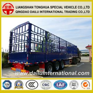 3-Axle Flat Beam Stake Semi Trailer with Three-Tier Fence