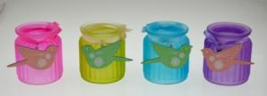 New Design Colorful Glass Candle Jar with Ribbon pictures & photos