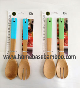 Coloful Bamboo Utensil Tools Salad Serving Set pictures & photos