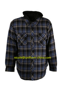 Wholesale Mens Hooded Flannel Shirt pictures & photos