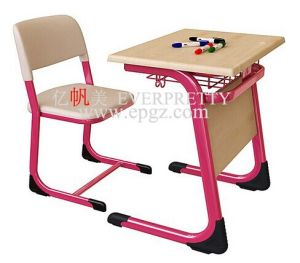 School Pink Study Desk and Chair Single Set pictures & photos