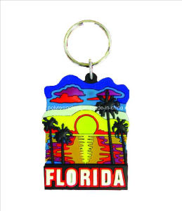 Florida Keychain Souvenir Gifts, Customized PVC Keyring Tourist Decoration pictures & photos